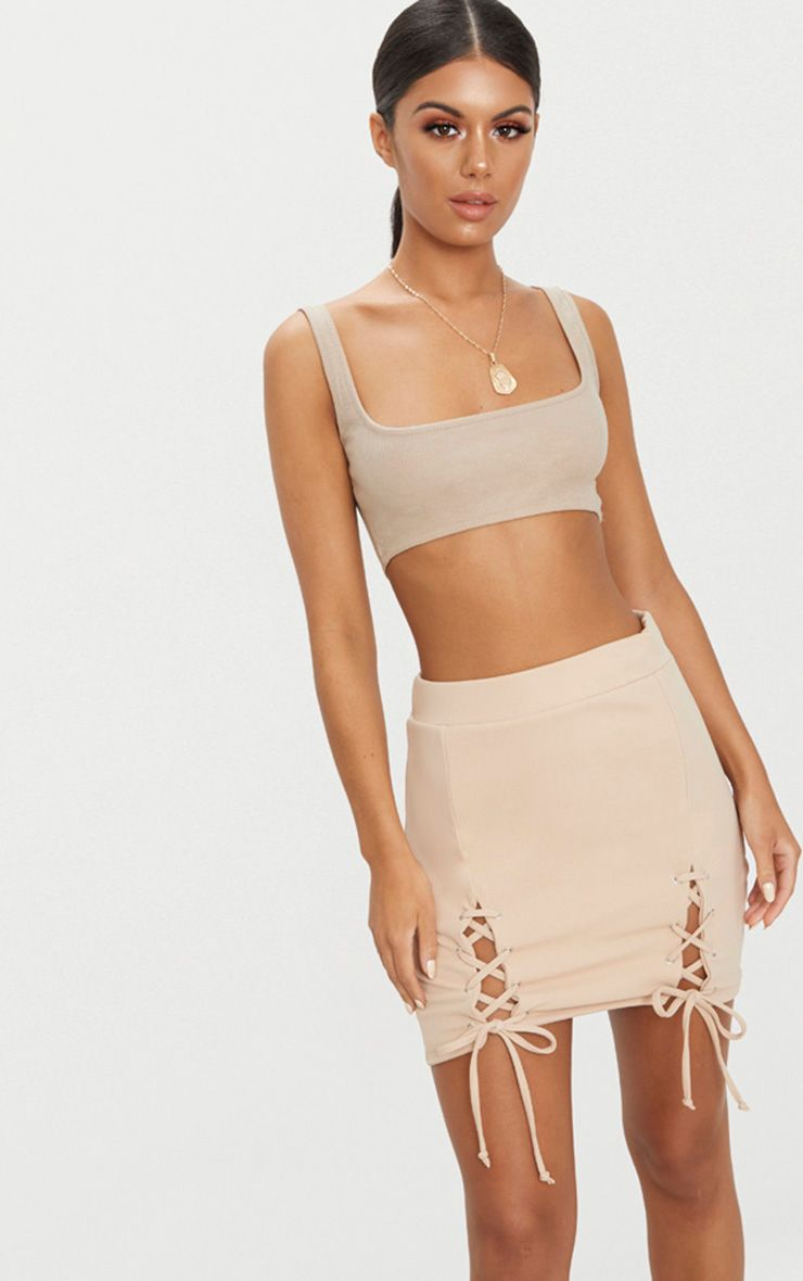 Stone Double Split Lace Up Mini Skirt