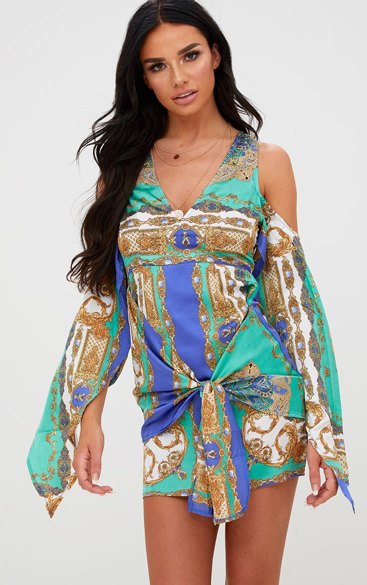 Cobalt Satin Scarf Print Cold Shoulder Bodycon Dress