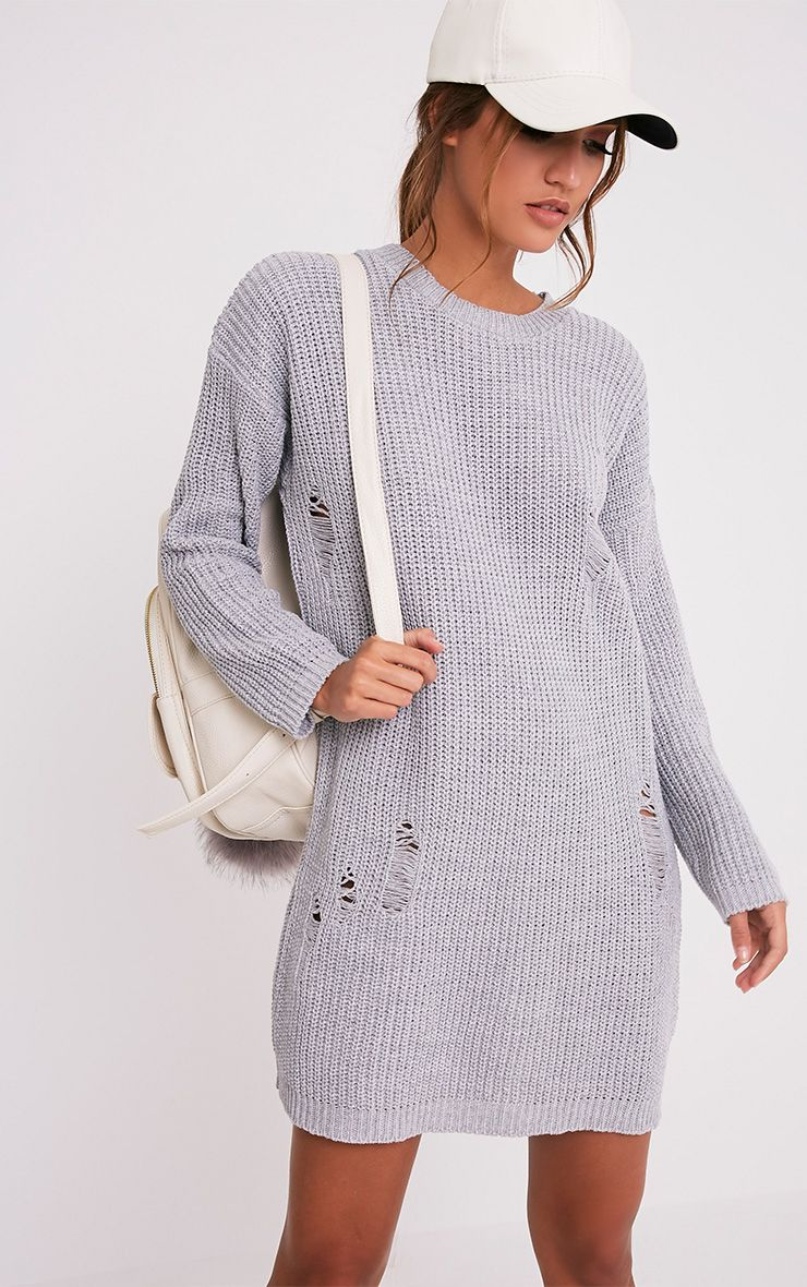Nico Distressed Grey Oversized Knitted  Dress 1