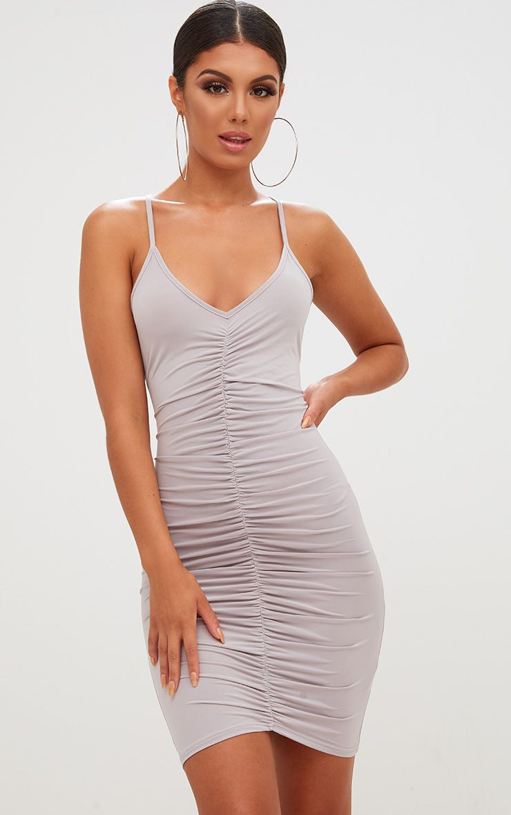 Ice Grey Slinky Ruched Strappy Bodycon Dress