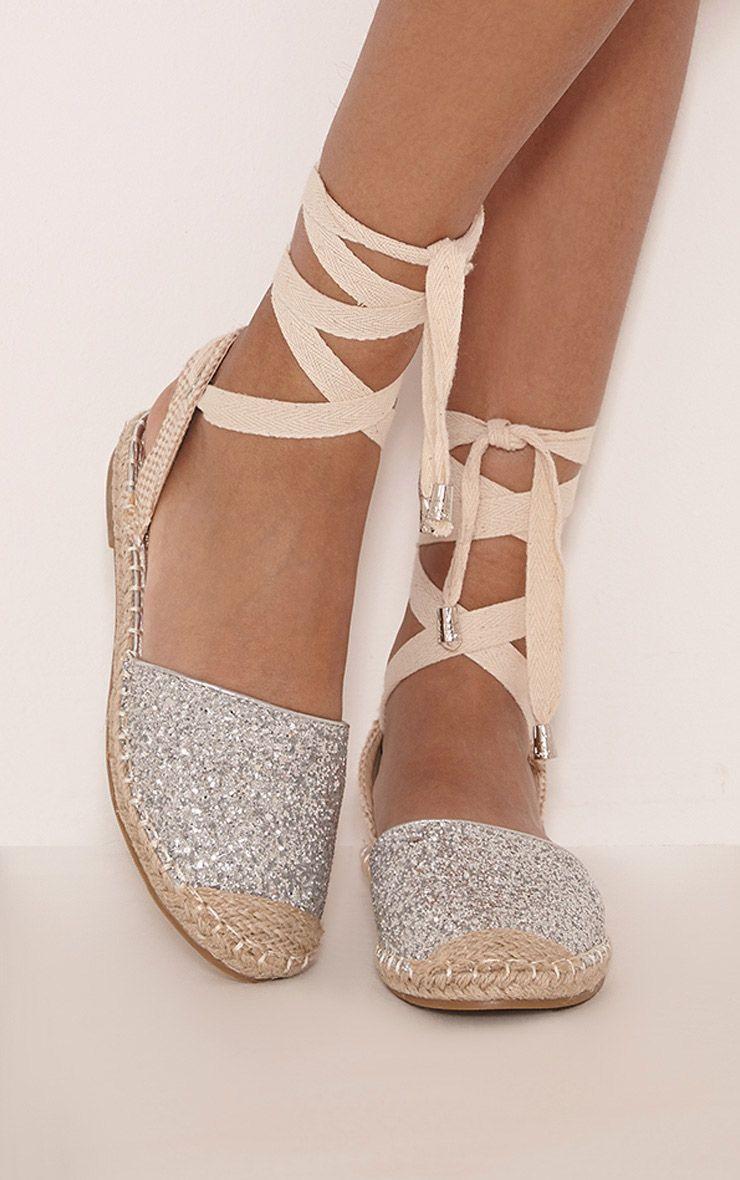 Zienna Sliver Glitter Espadrille Sandals 1