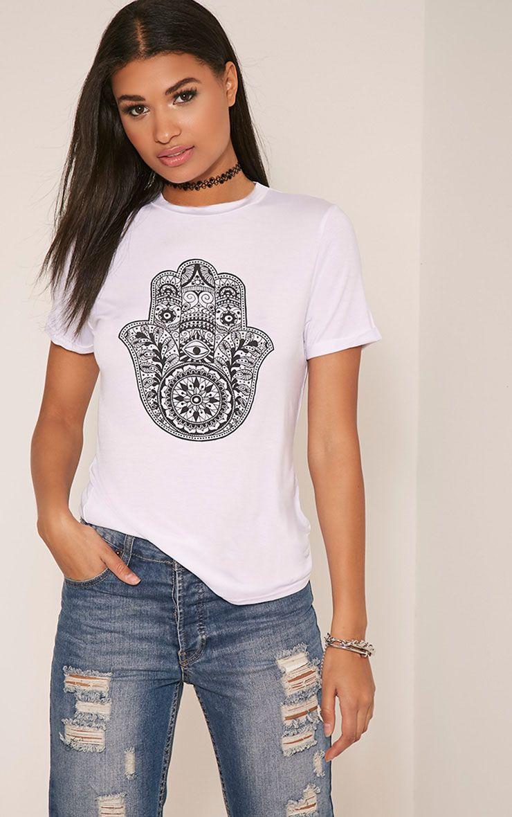 Hamza Print White T-Shirt 1