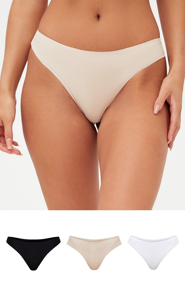 3 Pack Black, White, Nude No VPL Knickers