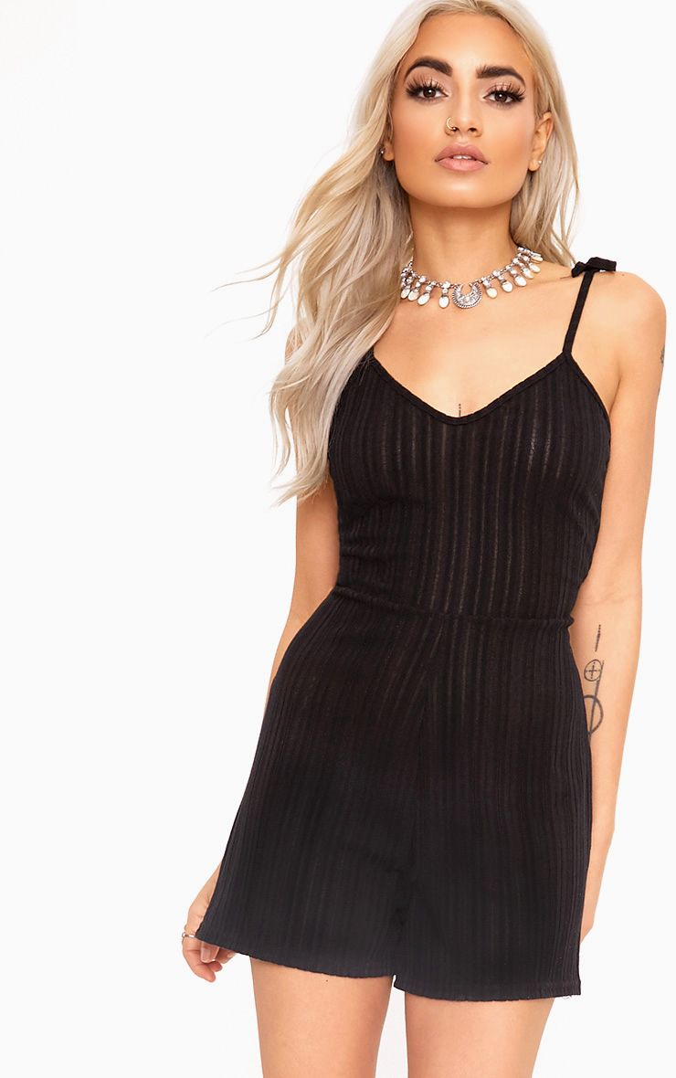 Black Tie Shoulder Ribbed Playsuit