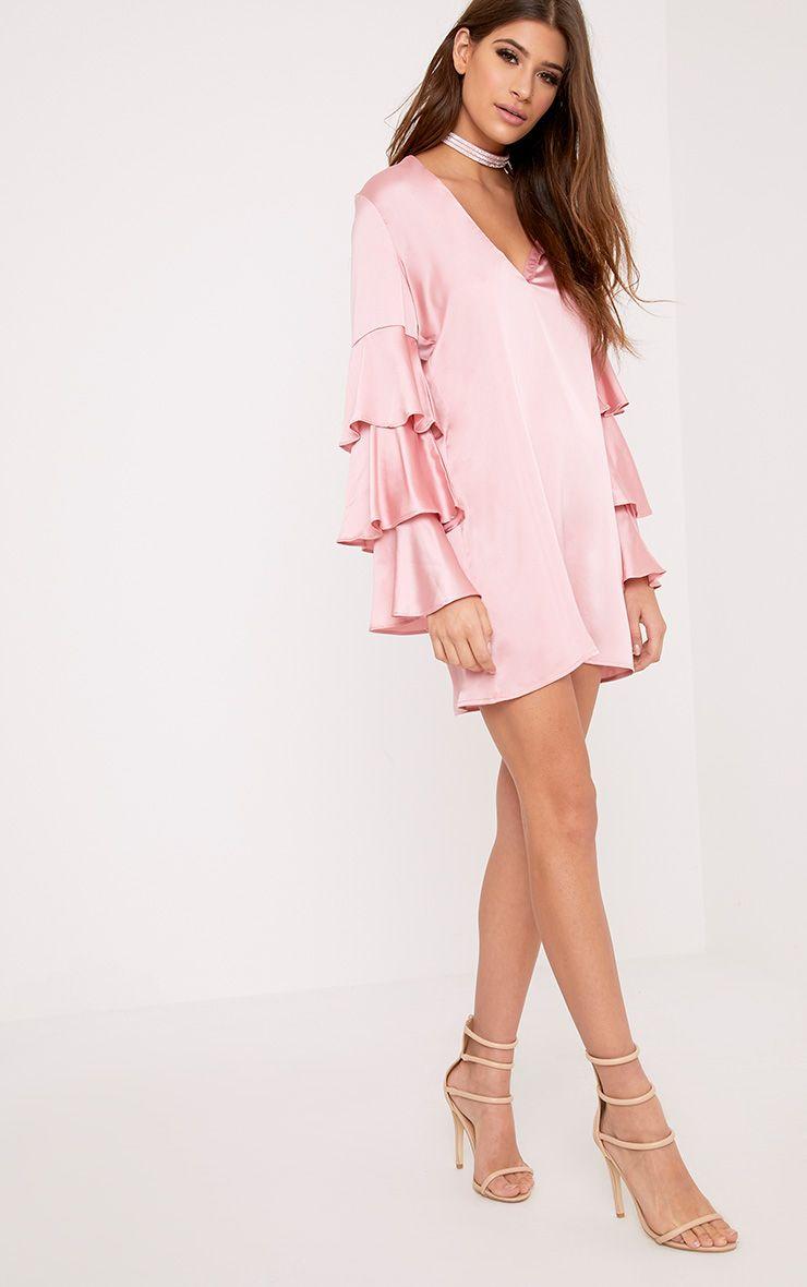 Kyleah Pink Satin Ruffle Sleeve Shift Dress