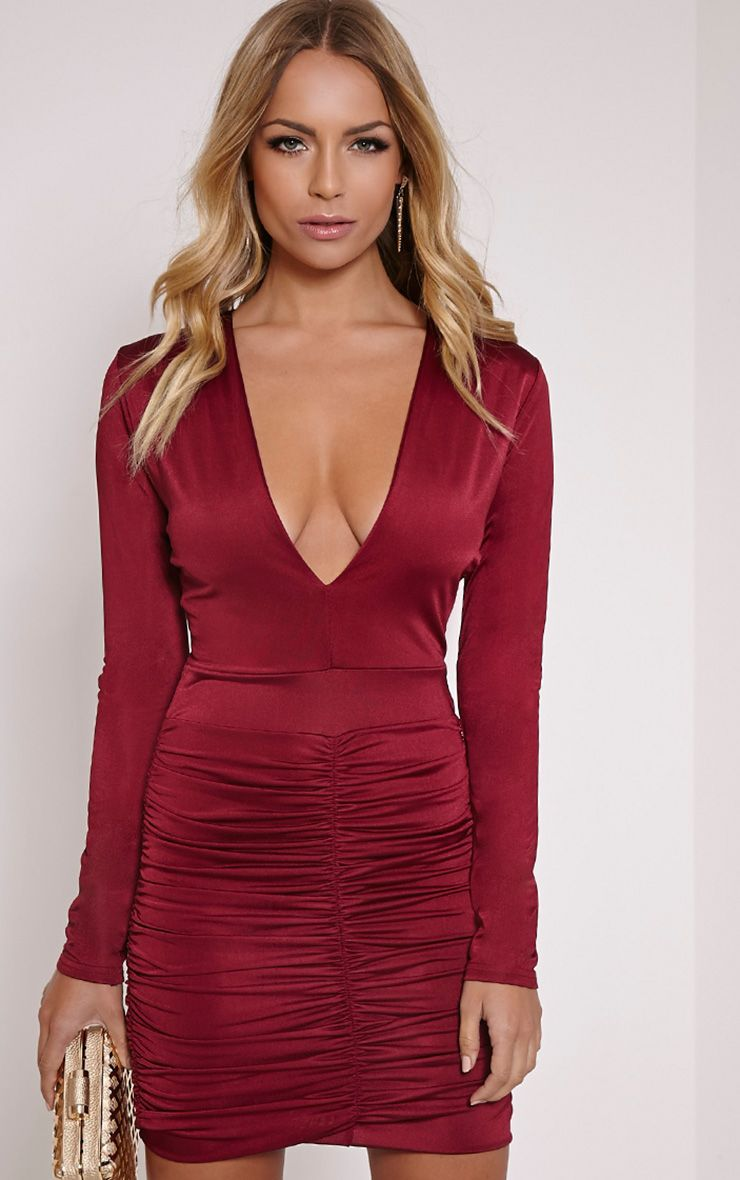 Alana Burgundy Plunge Ruched Bodycon Dress 1
