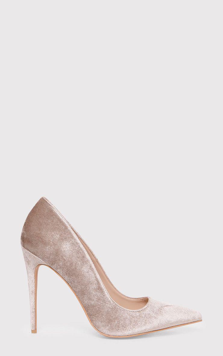 Jenessa Taupe Velvet Pointed Heels 1