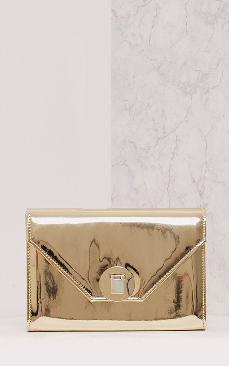Lyla Gold Padlock Mirror Clutch