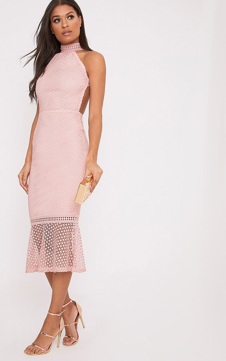 Kymmie Dusty Pink Lace High Neck Midi Dress