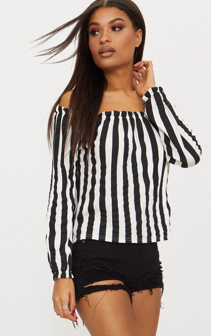 Mono Stripe Bardot Jersey Top
