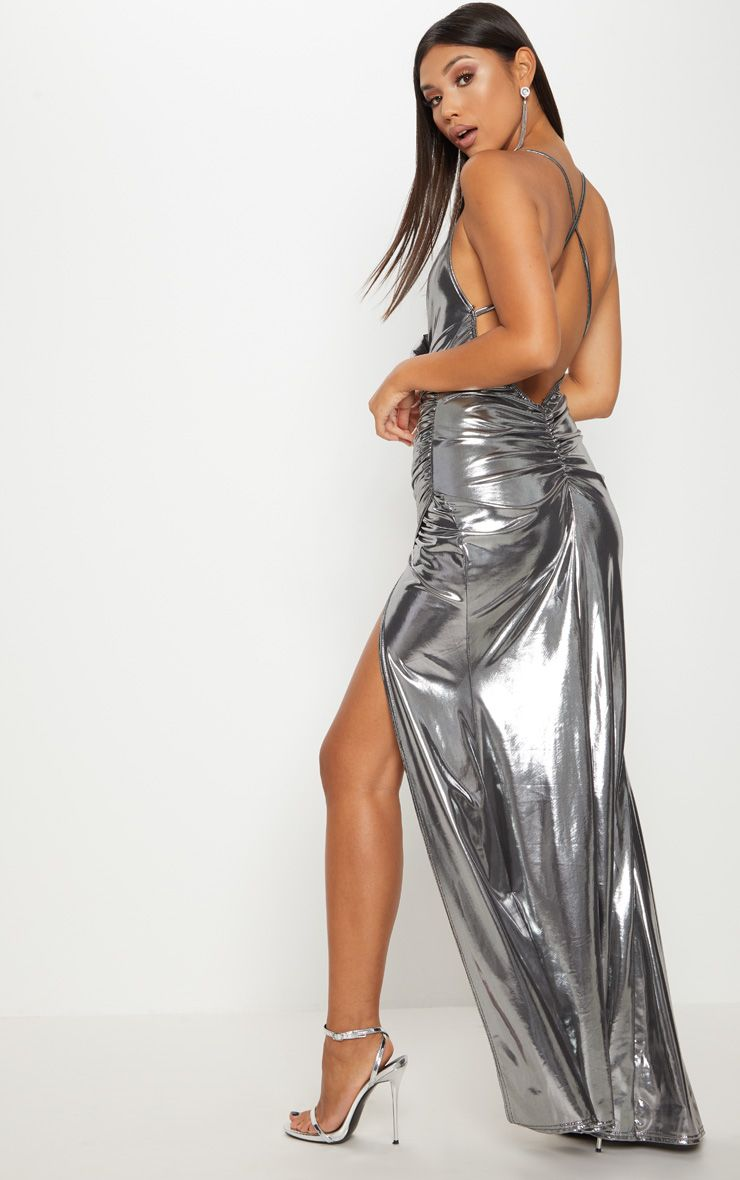 Silver Metallic Ruched Back Extreme Split Maxi Dress