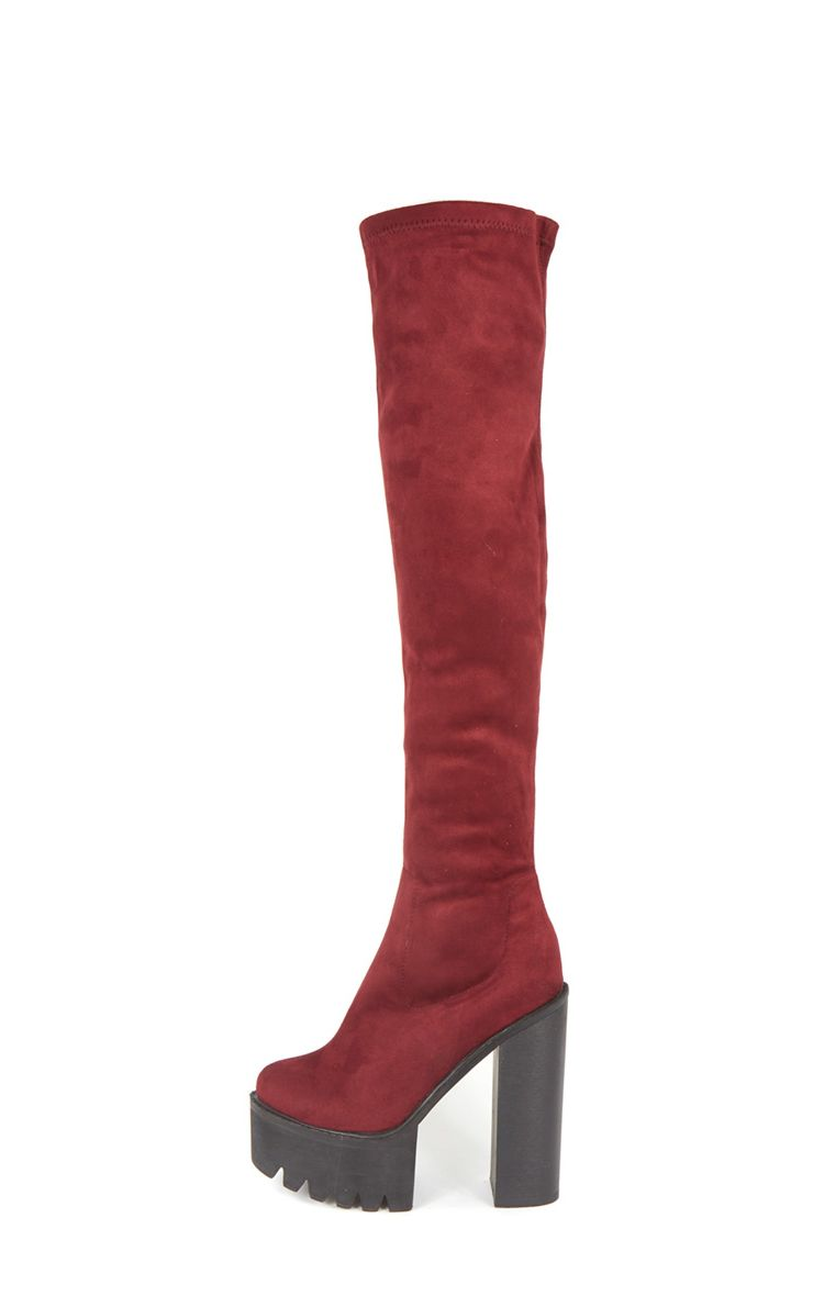 Alessandra Burgundy Cleated Sole Over The Knee Boot 1
