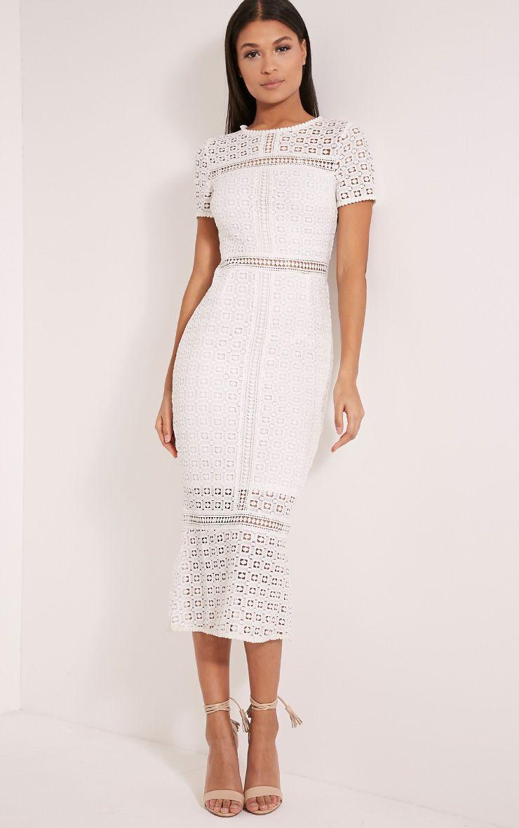 Midira White Crochet Lace Midi Dress Dresses Prettylittlething
