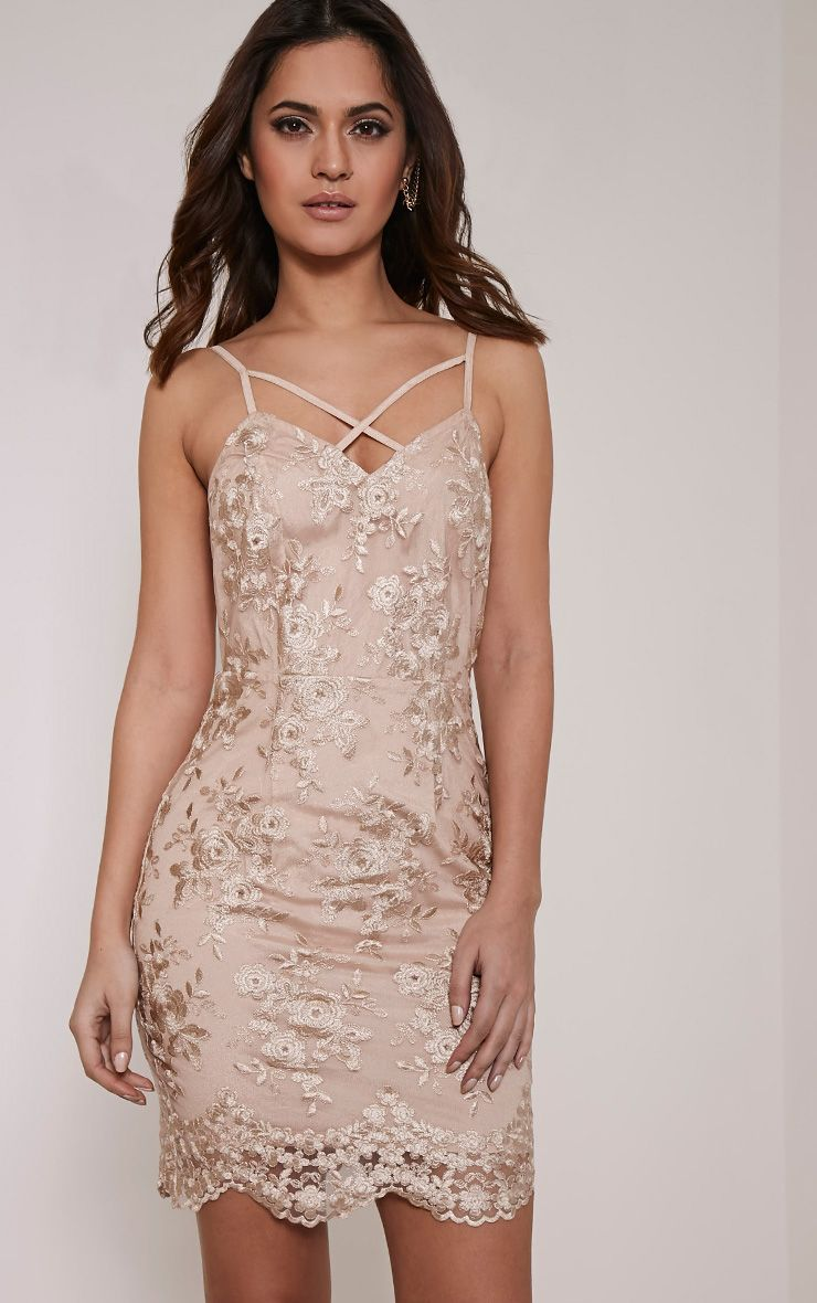Kayia Nude Floral Lace Panel Strappy Bodycon Dress 1