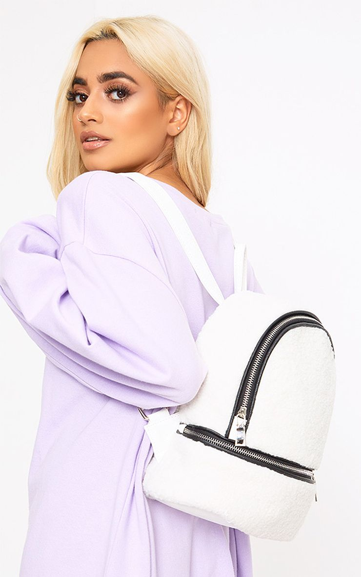 White Shearling Backpack