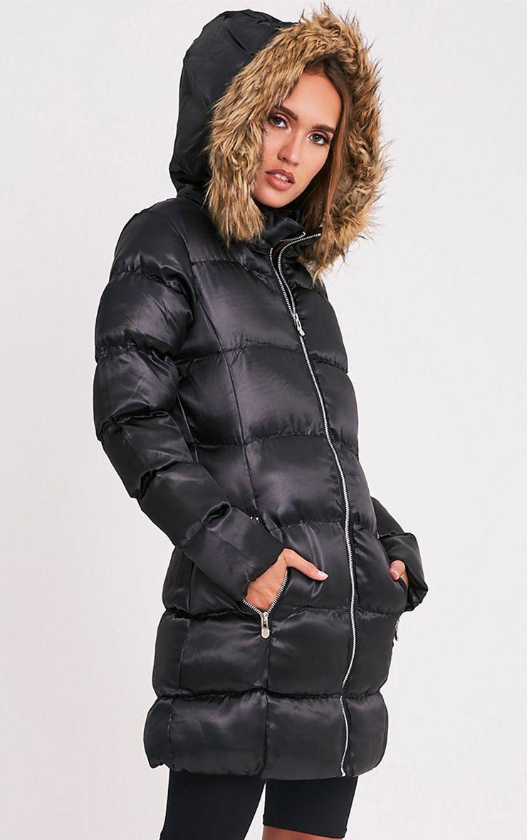 Fayola Black Faux Fur Trim Puffer Parka