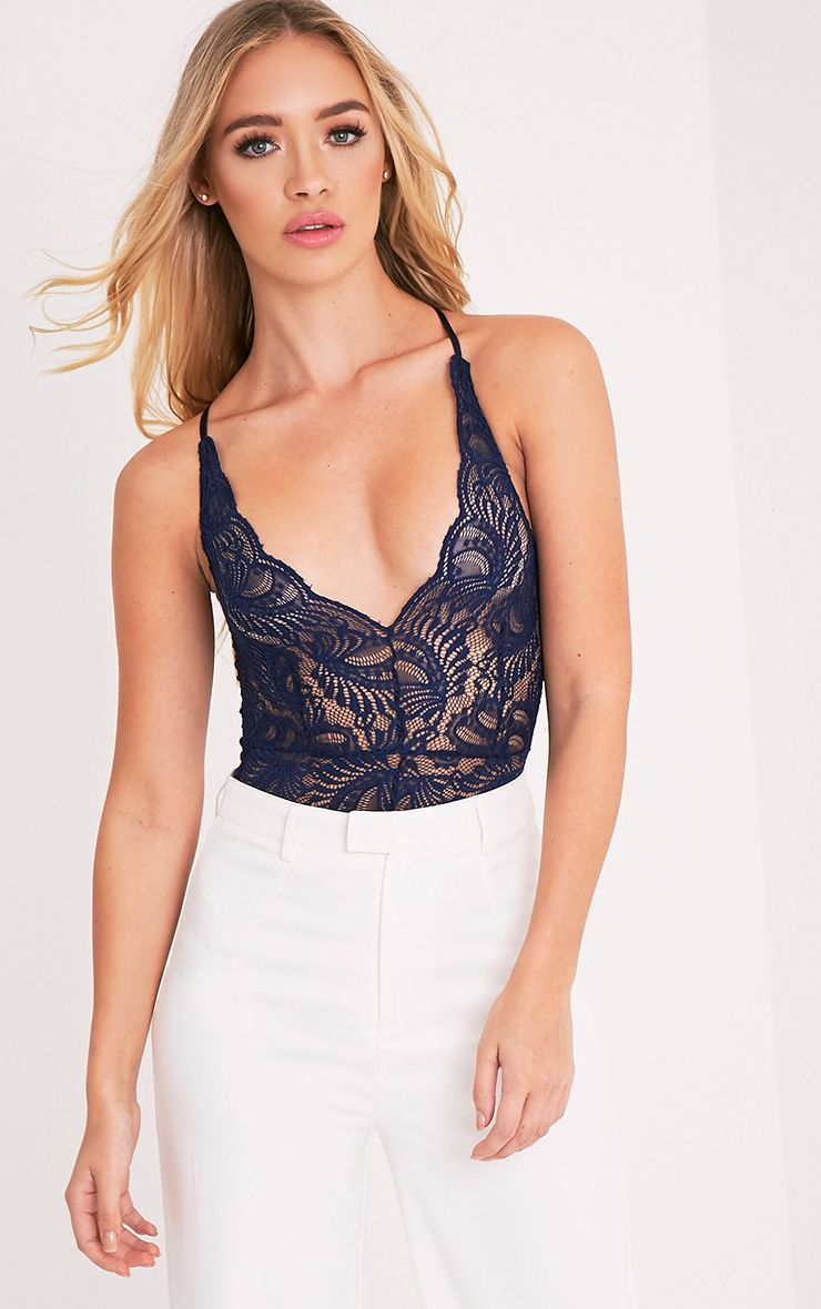 Lucille Navy Sheer Lace Cross Back Bodysuit