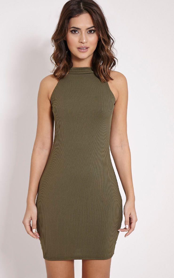 Basic Khaki Ribbed Vest Bodycon Dress Dresses