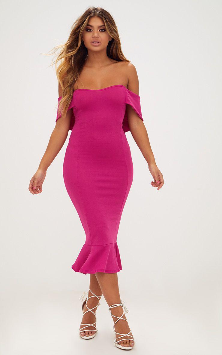 Fuchsia Pink Bardot Frill Hem Midi Dress