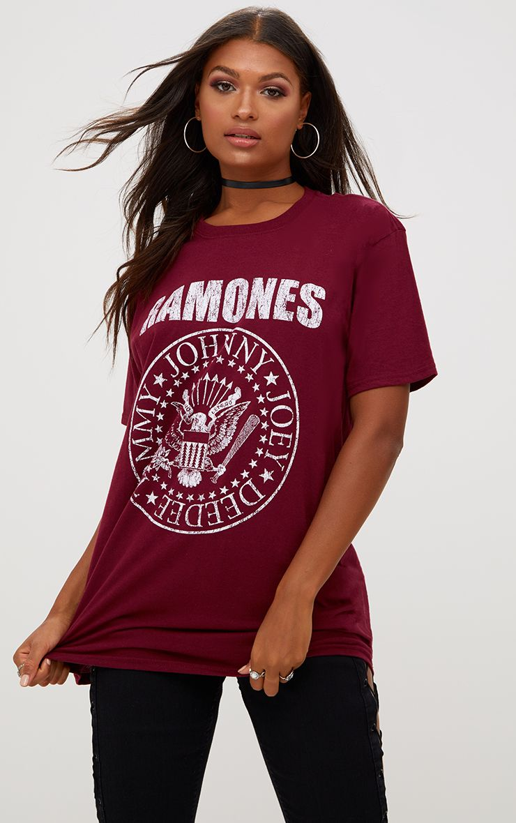 Burgundy RAMOMES Slogan Oversized T Shirt