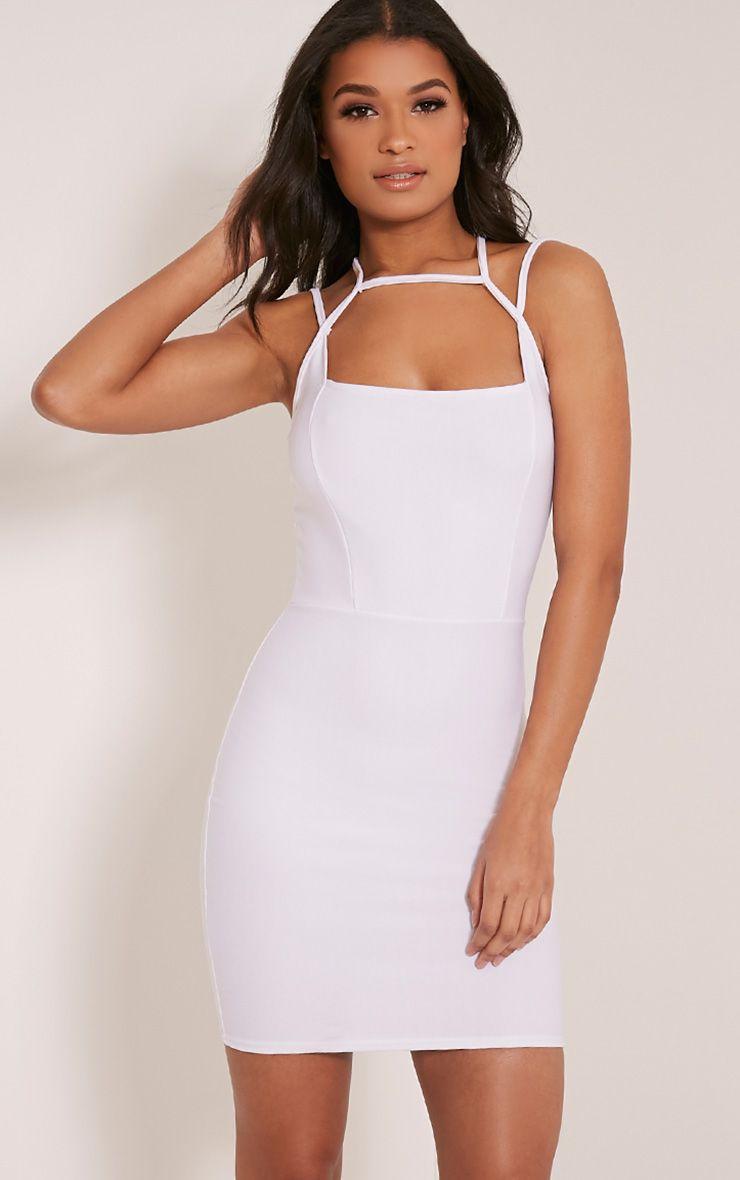 Maden White Strappy Detail Bodycon Dress 1