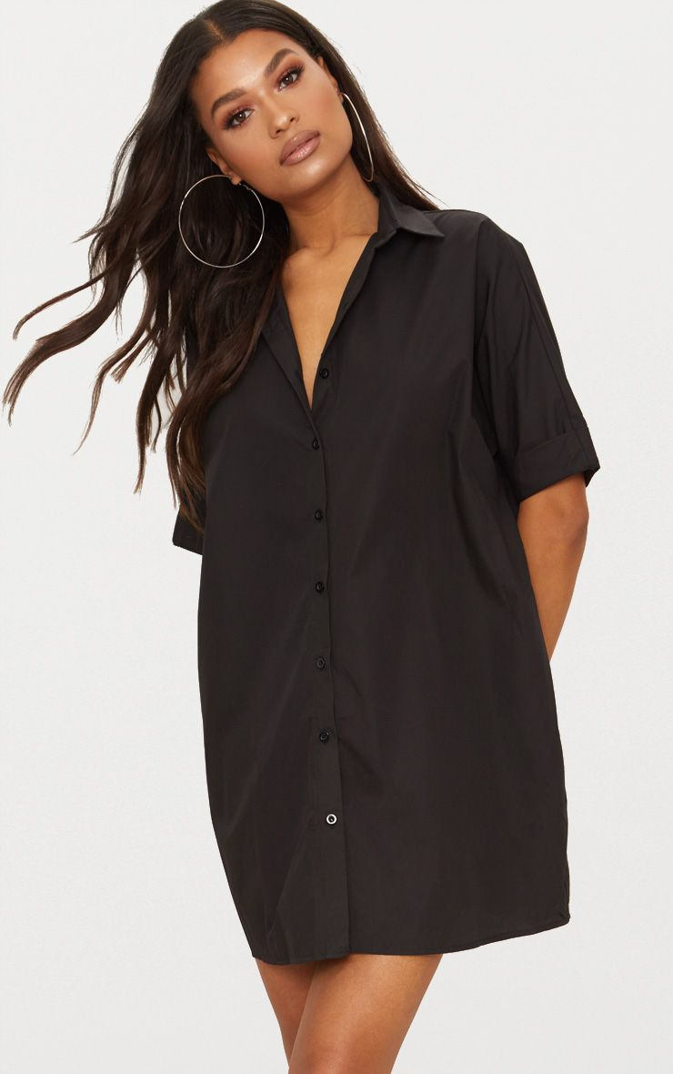 Black Oversized Short Sleeve Shirt Dress