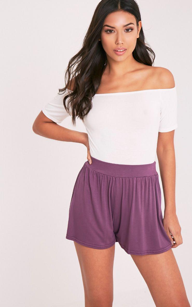 Lucilla Aubergine Jersey Floaty Shorts