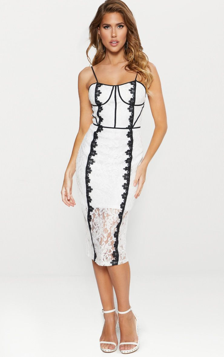 White Lace Contrast Piping Midi Dress
