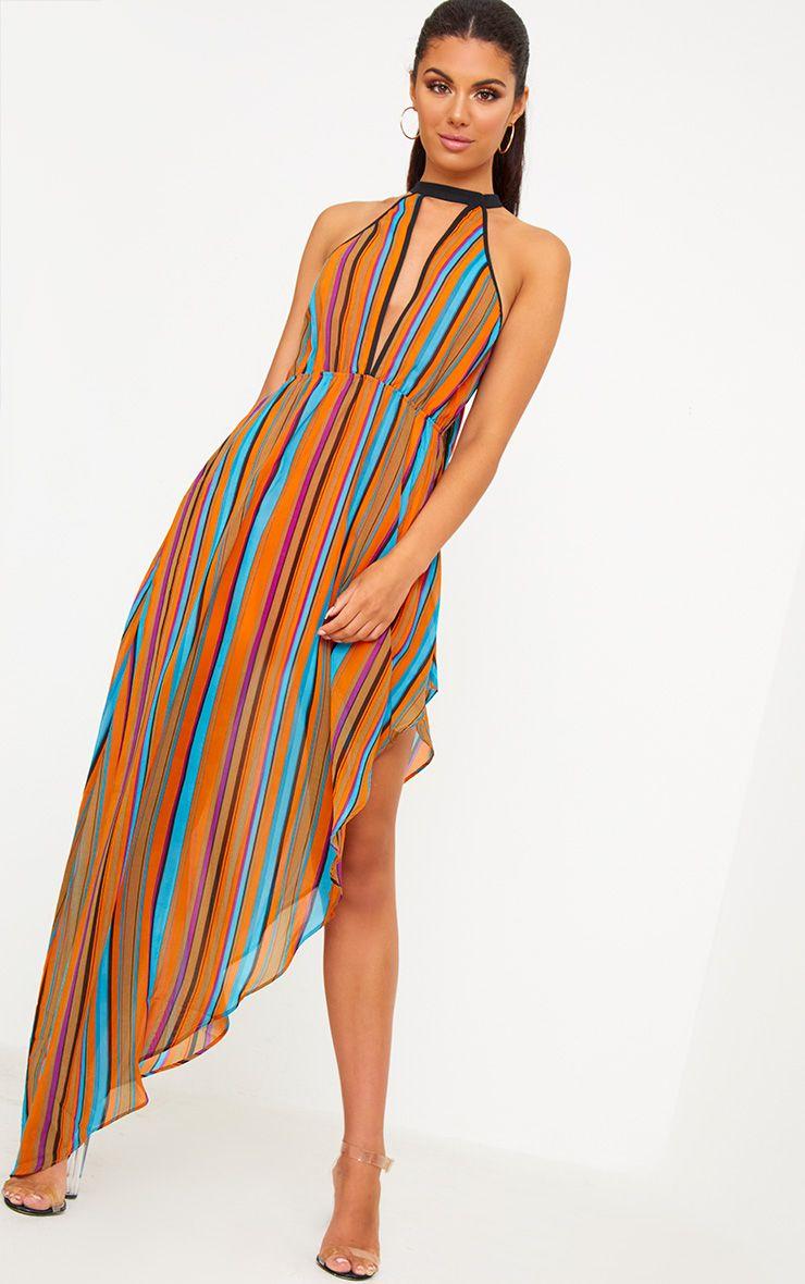 Orange Plunge Stripe Maxi Dress