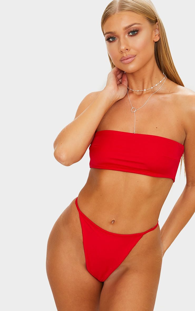 Product photo of Red mix match string thong bikini bottom red
