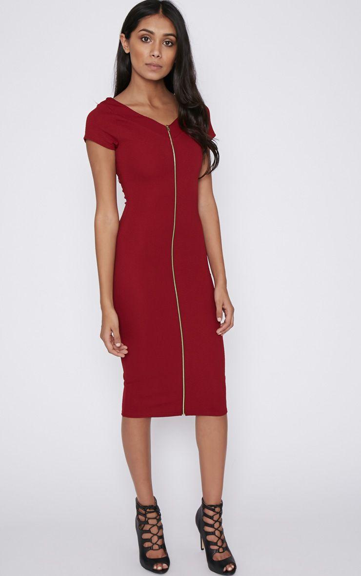 Nieve Wine Zip Front Bodycon Dress 1