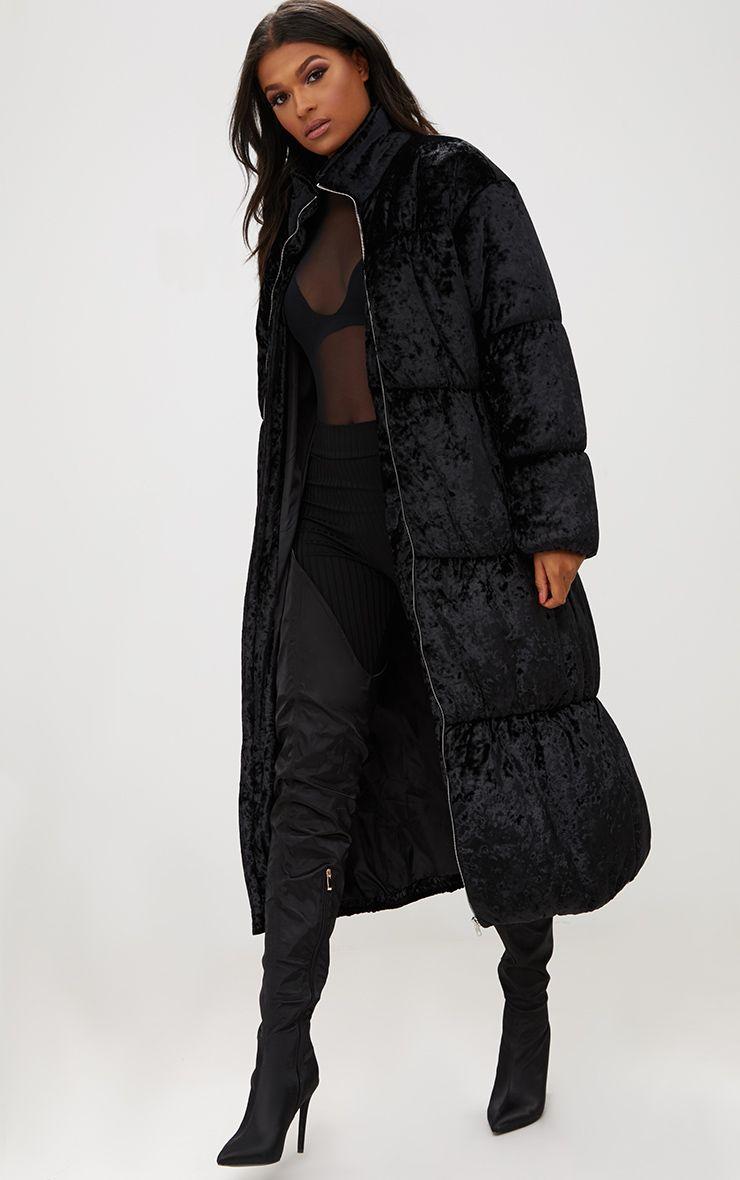 Black Velvet Longline Puffer Coat