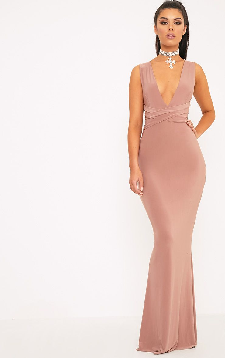 Maci Dusty Rose Double Wrap Slinky Maxi Dress