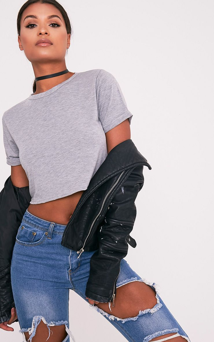 Basic Grey Roll Sleeve Crop T Shirt