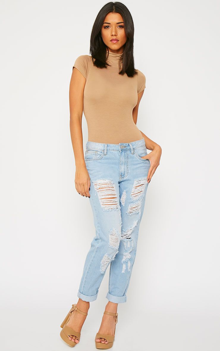 Jocie Light Wash Ripped Boyfriend Jeans 1