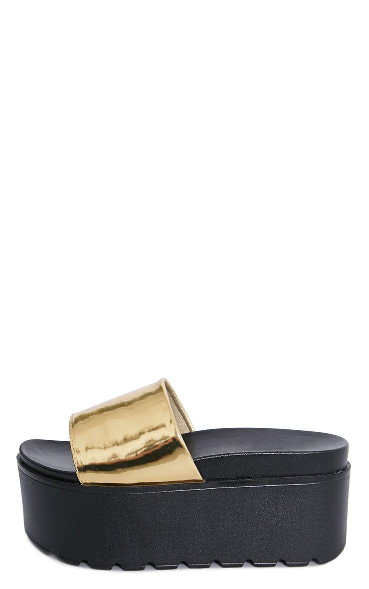 Mariella Gold Metallic Flatform Sliders 1