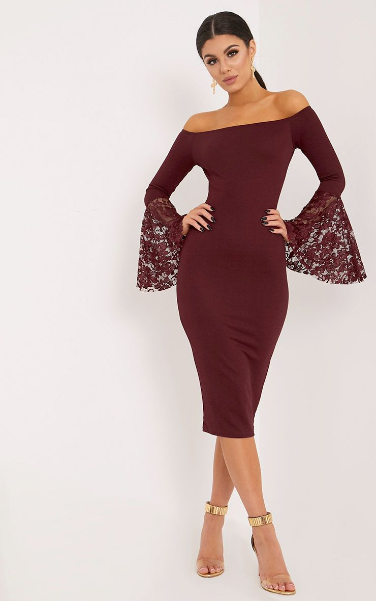 Tayler Burgundy Bardot Lace Flared Sleeve Midi Dress