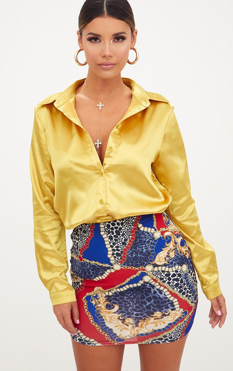Blue Mixed Chain Print Mini Skirt