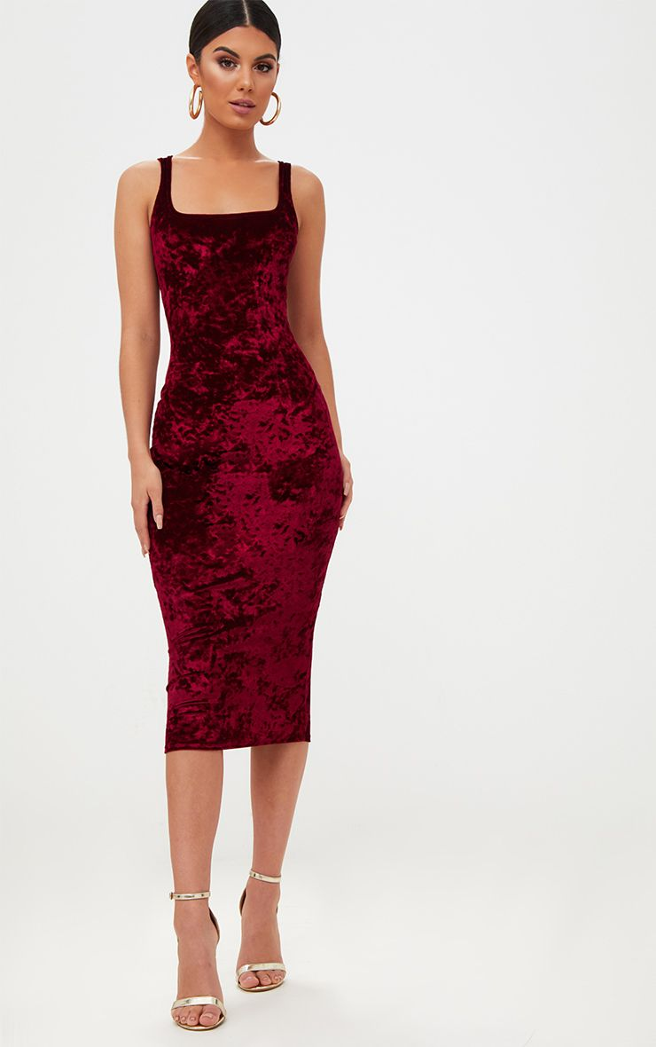 Wine Square Neck Velvet Midaxi Dress