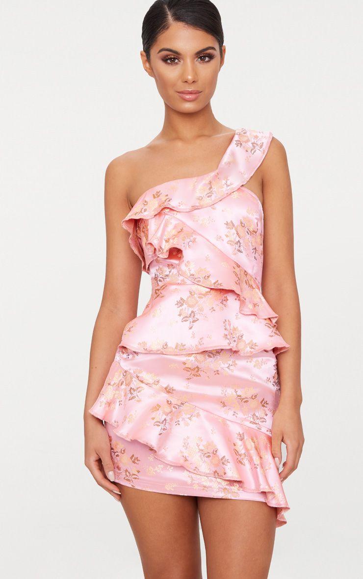 Pink Oriental Satin Print One Shoulder Frill Bardot Bodycon Dress
