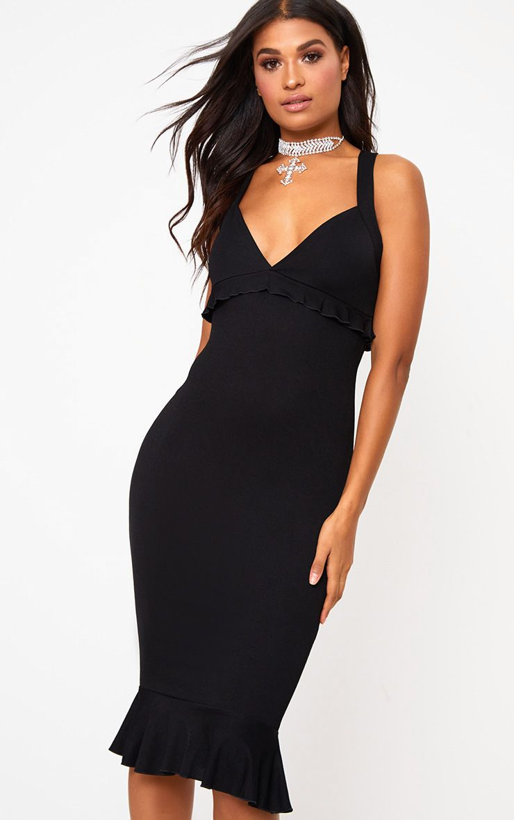 Black Frill Detail Midi Dress