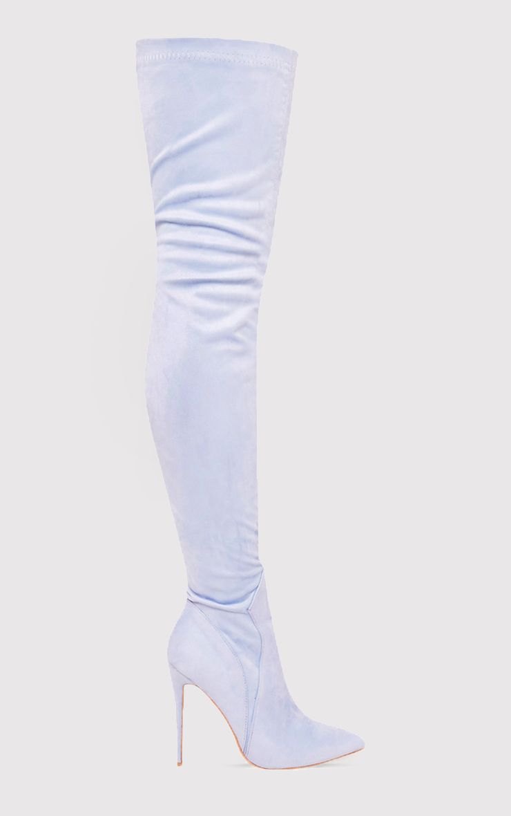 Emmie Baby Blue Faux Suede Extreme Thigh High Heeled Boots