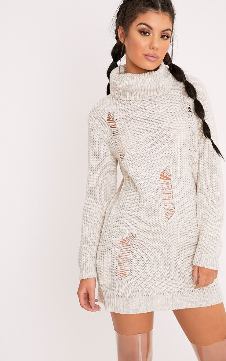 Nimae Stone Chunky Knit Roll neck Distress Tunic Jumper White