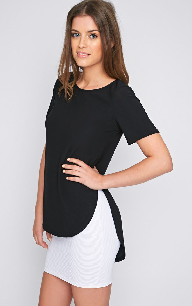 Dora Black Dipped Hem Top  1