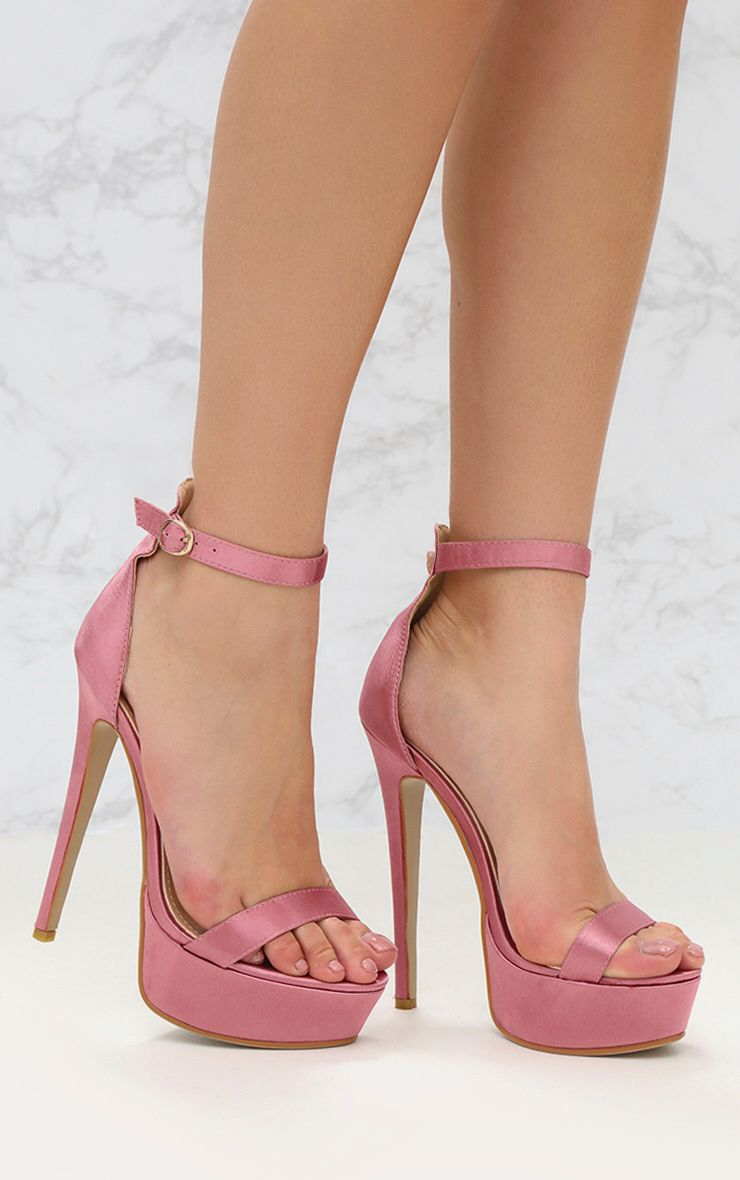 Pink Satin Single Strap Platform Heels