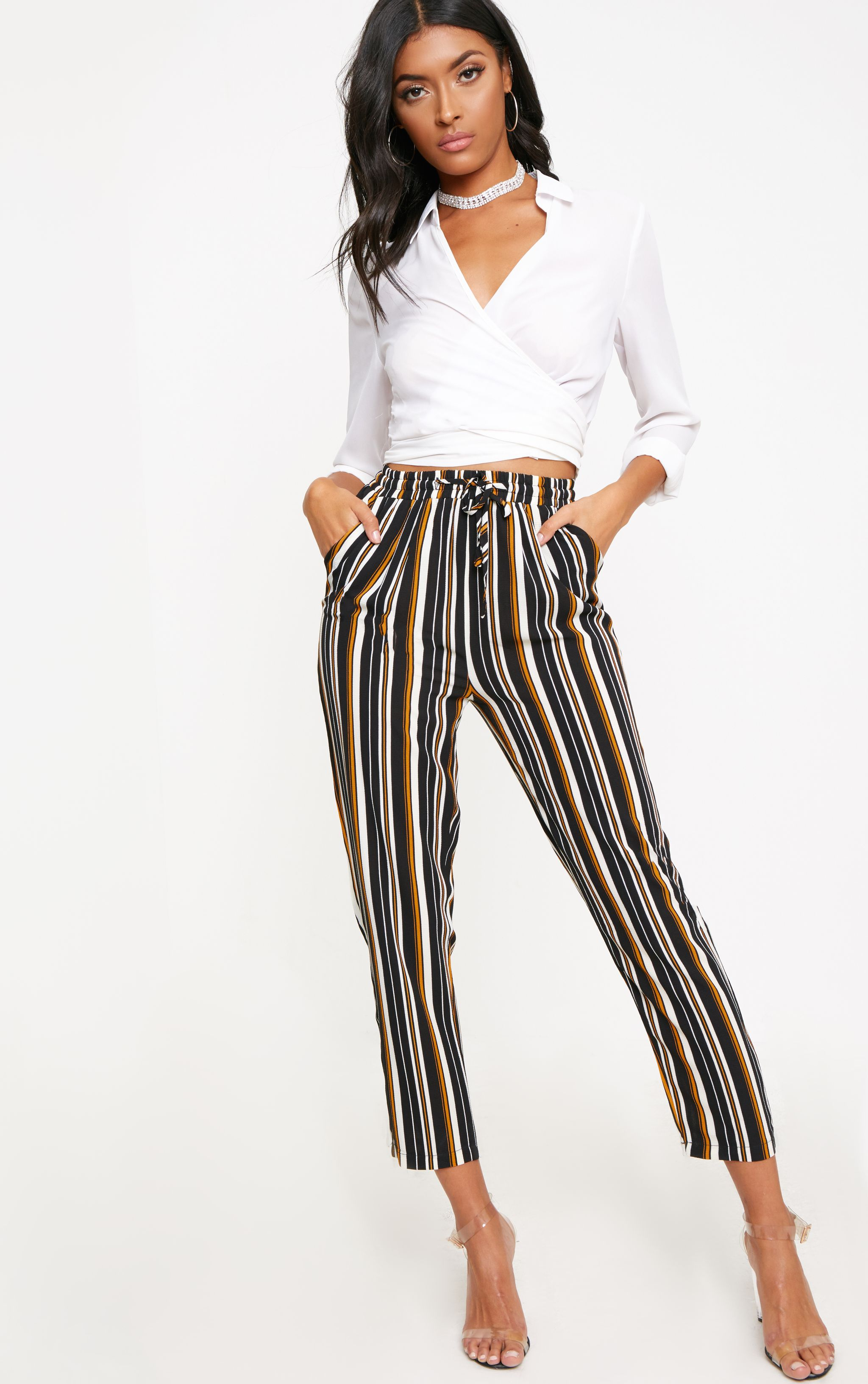 Yellow Stripe Casual Trousers