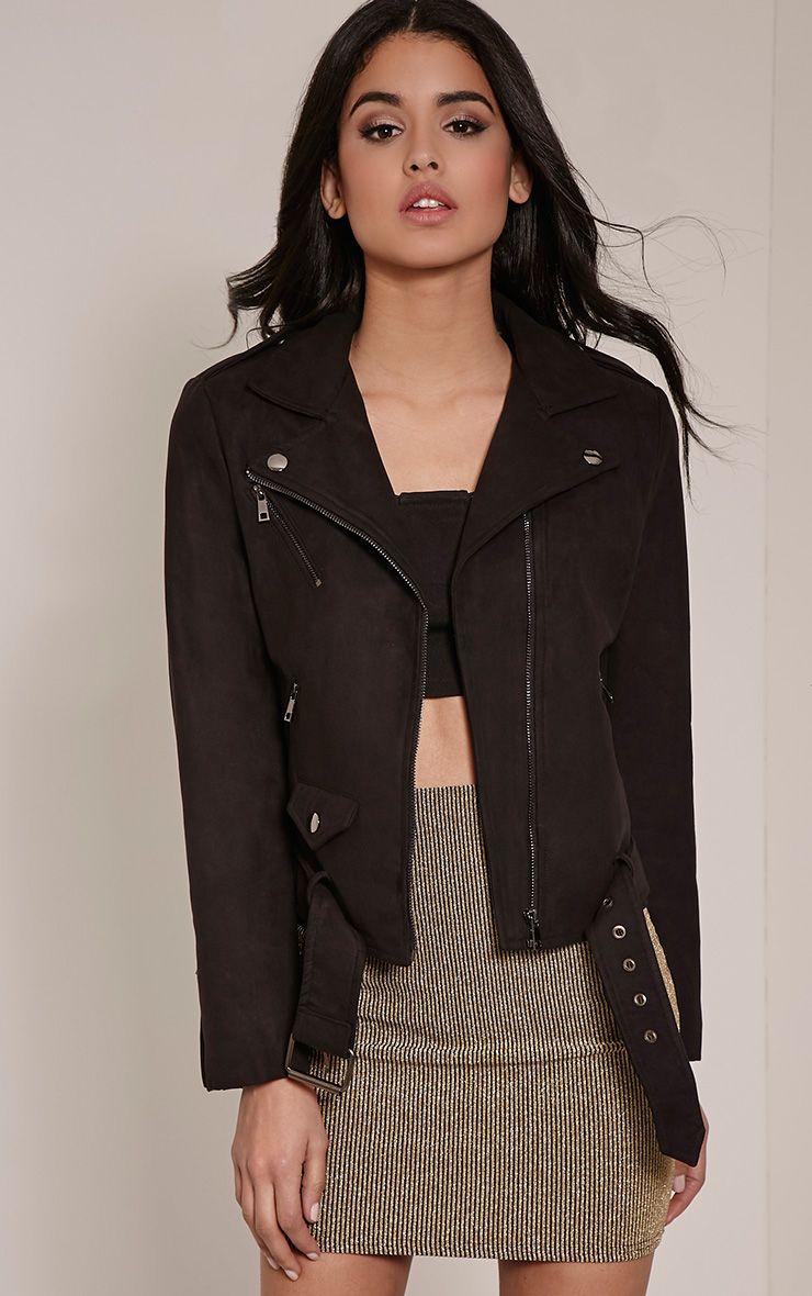 Sloane Black Faux Suede Premium Biker Jacket 1
