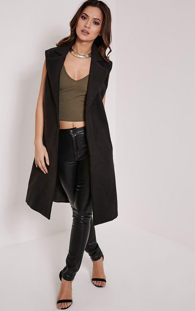 Huey Black Sleeveless Duster Coat 1