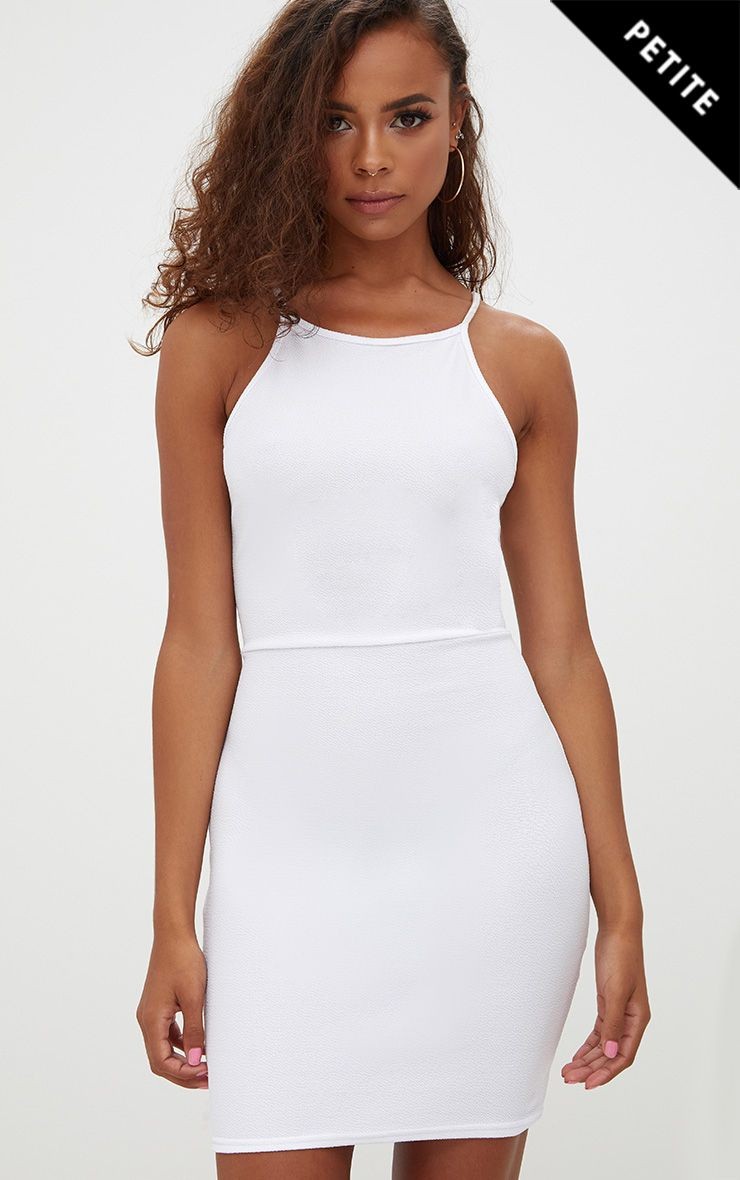 Petite White High Neck Bodycon Mini Dress