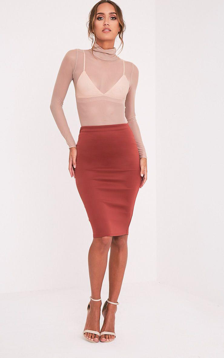 Winnie Brown Scuba Midi Skirt 1